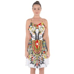 Imperial Coat Of Arms Of Austria Hungary  Ruffle Detail Chiffon Dress