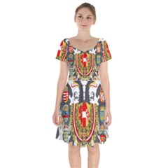 Imperial Coat Of Arms Of Austria Hungary  Short Sleeve Bardot Dress