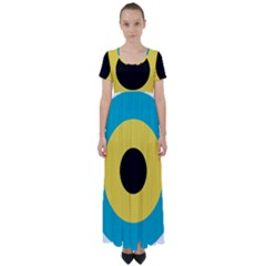Roundel Of Royal Bahamas Defence Force Air Wing High Waist Short Sleeve Maxi Dress