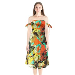 Fragrance Of Kenia 9 Shoulder Tie Bardot Midi Dress