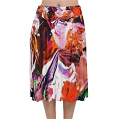 Cabin In The Mountain 2 Velvet Flared Midi Skirt