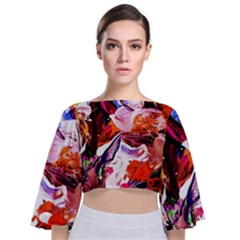 Cabin In The Mountain 2 Tie Back Butterfly Sleeve Chiffon Top