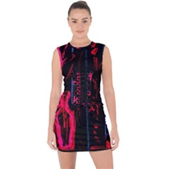 Calligraphy Lace Up Front Bodycon Dress by bestdesignintheworld