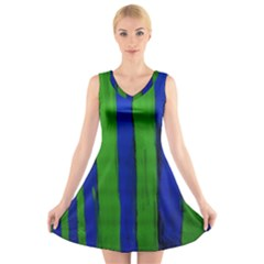 Stripes V-neck Sleeveless Skater Dress by bestdesignintheworld