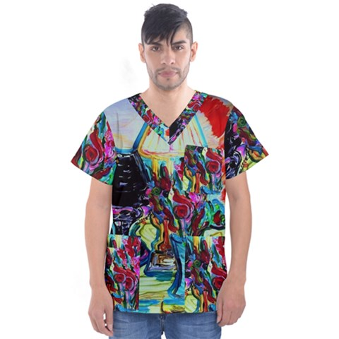 Still Life With Two Lamps Men s V-neck Scrub Top by bestdesignintheworld