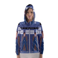 Tenth Doctor And His Tardis Hooded Wind Breaker (women)