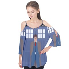 Tenth Doctor And His Tardis Flutter Tees
