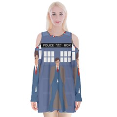 Tenth Doctor And His Tardis Velvet Long Sleeve Shoulder Cutout Dress