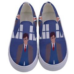 Tenth Doctor And His Tardis Kids  Canvas Slip Ons