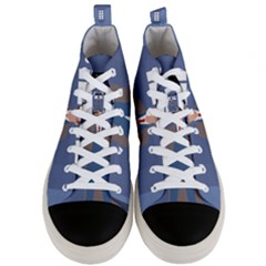 Tenth Doctor And His Tardis Men s Mid Top Canvas Sneakers