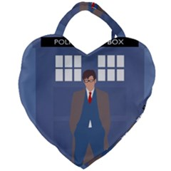 Tenth Doctor And His Tardis Giant Heart Shaped Tote by Samandel