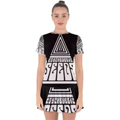 Psychedelic Seeds Logo Drop Hem Mini Chiffon Dress
