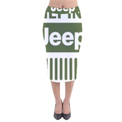 Only In A Jeep Logo Velvet Midi Pencil Skirt