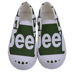 Only In A Jeep Logo Kids  Canvas Slip Ons
