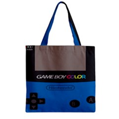 Game Boy Colour Blue Zipper Grocery Tote Bag by Samandel