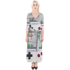 Game Boy White Quarter Sleeve Wrap Maxi Dress