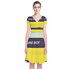 Game Boy Yellow Short Sleeve Front Wrap Dress