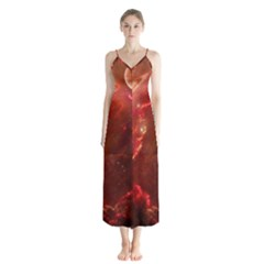 Space Red Button Up Chiffon Maxi Dress