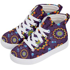 Texture Background Flower Pattern Kid s Hi Top Skate Sneakers by Sapixe
