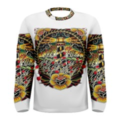 Tattoo Art Print Traditional Artwork Lighthouse Wave Men s Long Sleeve Tee by Sapixe