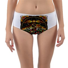 Tattoo Art Print Traditional Artwork Lighthouse Wave Reversible Mid Waist Bikini Bottoms