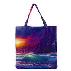 Sunset Orange Sky Dark Cloud Sea Waves Of The Sea, Rocky Mountains Art Grocery Tote Bag