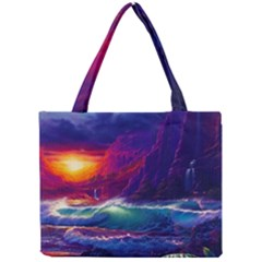 Sunset Orange Sky Dark Cloud Sea Waves Of The Sea, Rocky Mountains Art Mini Tote Bag by Sapixe
