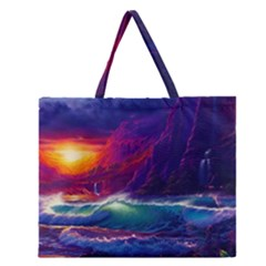 Sunset Orange Sky Dark Cloud Sea Waves Of The Sea, Rocky Mountains Art Zipper Large Tote Bag