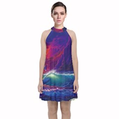 Sunset Orange Sky Dark Cloud Sea Waves Of The Sea, Rocky Mountains Art Velvet Halter Neckline Dress