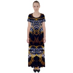 Textures Snake Skin Patterns High Waist Short Sleeve Maxi Dress