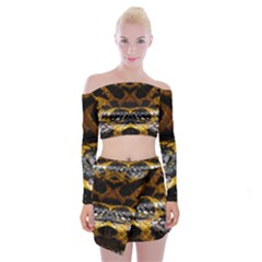 Textures Snake Skin Patterns Off Shoulder Top With Mini Skirt Set by Sapixe