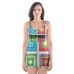 Tiles Pattern Background Colorful Skater Dress Swimsuit