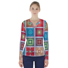 Tiles Pattern Background Colorful V Neck Long Sleeve Top