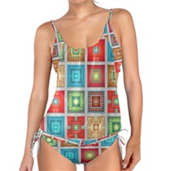 Tiles Pattern Background Colorful Tankini Set