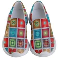 Tiles Pattern Background Colorful Kid s Lightweight Slip Ons