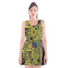 Technology Circuit Board Scoop Neck Skater Dress by Sapixe