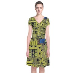 Technology Circuit Board Short Sleeve Front Wrap Dress by Sapixe