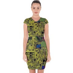 Technology Circuit Board Capsleeve Drawstring Dress