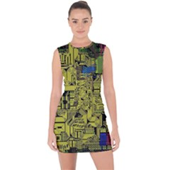 Technology Circuit Board Lace Up Front Bodycon Dress