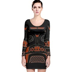 Traditional Northwest Coast Native Art Long Sleeve Velvet Bodycon Dress