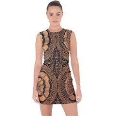 The Art Of Batik Printing Lace Up Front Bodycon Dress