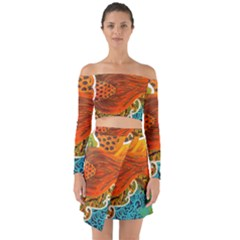 The Beautiful Of Art Indonesian Batik Pattern Off Shoulder Top With Skirt Set