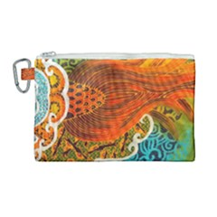 The Beautiful Of Art Indonesian Batik Pattern Canvas Cosmetic Bag (large) by Sapixe