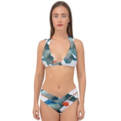 Tree Frog Illustration Double Strap Halter Bikini Set