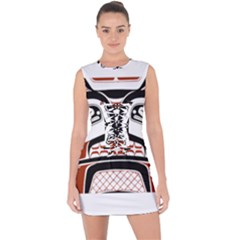 Traditional Northwest Coast Native Art Lace Up Front Bodycon Dress