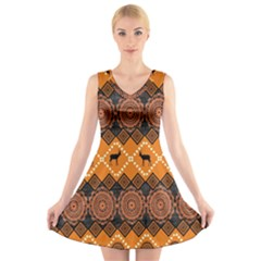 Traditiona  Patterns And African Patterns V-neck Sleeveless Skater Dress by Sapixe