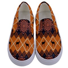 Traditiona  Patterns And African Patterns Kids  Canvas Slip Ons