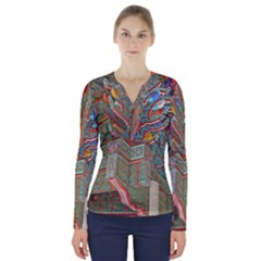 Traditional Korean Painted Paterns V Neck Long Sleeve Top