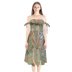 Traditional Korean Painted Paterns Shoulder Tie Bardot Midi Dress