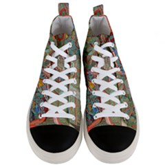 Traditional Korean Painted Paterns Men s Mid Top Canvas Sneakers